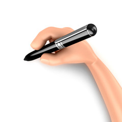 3d render of a hand holding a pen