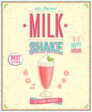 Fototapety Vintage MilkShake Poster. Vector illustration.
