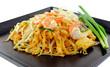 Thai food Pad thai , Stir fry noodles with shrimp on black plate