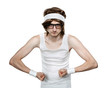 Funny retro nerd flexing his muscle isolated on white background