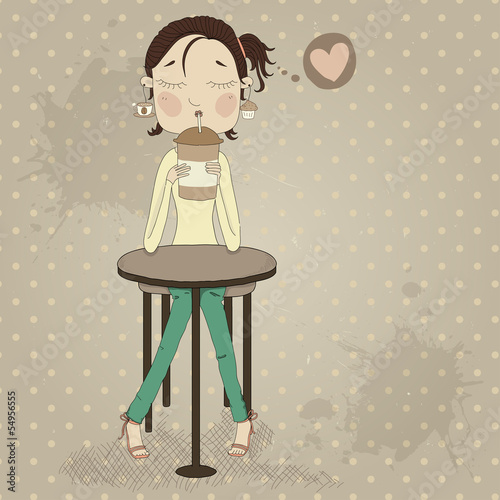 Illustration of a cartoon girl with a mug of coffee in her hands - 54956555
