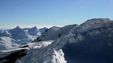 panorama shot of snow ridges in soelden, the austrian alps
