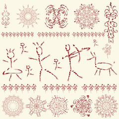 prehistoric pictures, a set of primitive art design elements