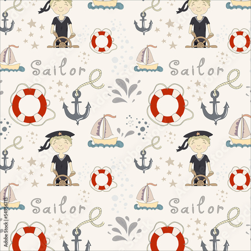 Pattern with little sailor and various marine objects
