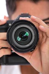 Man focusing his camera