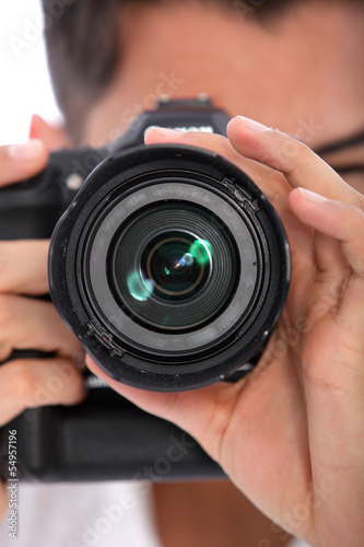 Man focusing his camera