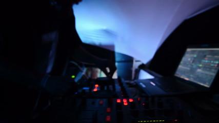 Dj mixing music at party close up