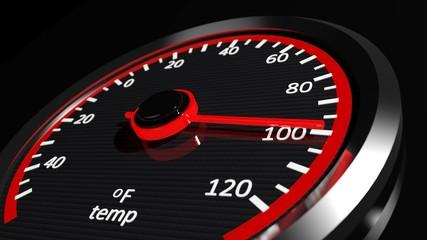Temperature meter shows high temperatures