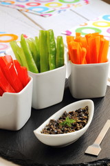 Crudités with tapenade, a dip sauce made with olives