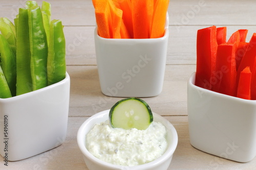 Crudités with tzatziki sauce