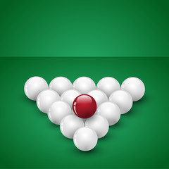 Billiard balls ready for game