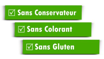 Etiquette sans conservateur,colorant,gluten
