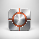 Technology App Icon Template with Metal Texture