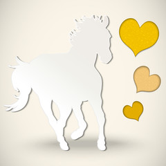 Vector paper cut greeting card with  horse and hearts