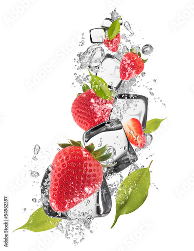 Ice strawberries on white background