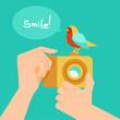 Vector digital camera and cartoon bird