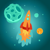 Vector cartoon space rocket