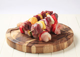 Raw shish kebabs