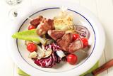 Pork skewer with vegetables