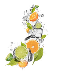 Ice oranges and limes on white background