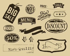 Vintage sale graphic elements set