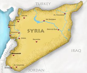 Cartina della Siria disegnata a mano e paesi confinanti