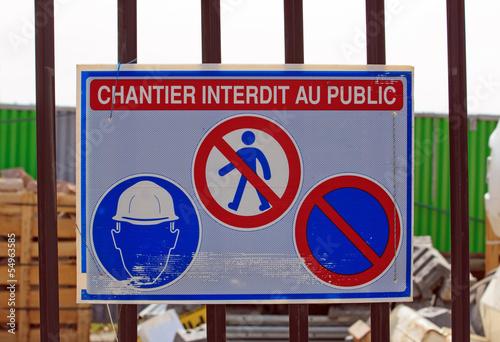 panneau chantier interdit au public