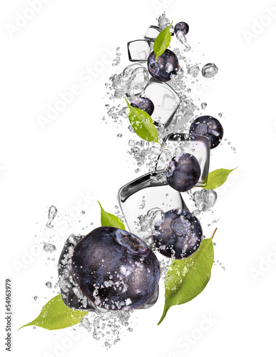 Ice blueberries on white background