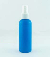 Blue spray medicine antiseptic drugs plastic Bottle on white