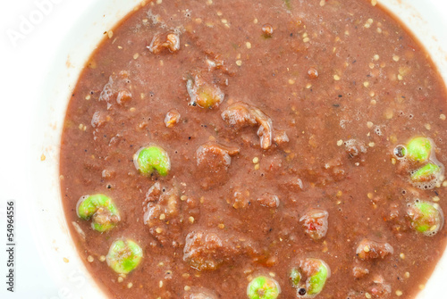 close up of a bowl of fermented shrimp paste chilli sauce