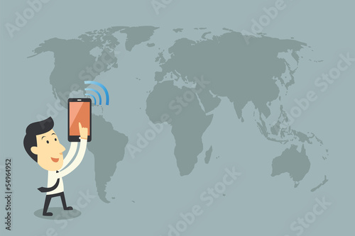smartphones and networking, cartoon vector