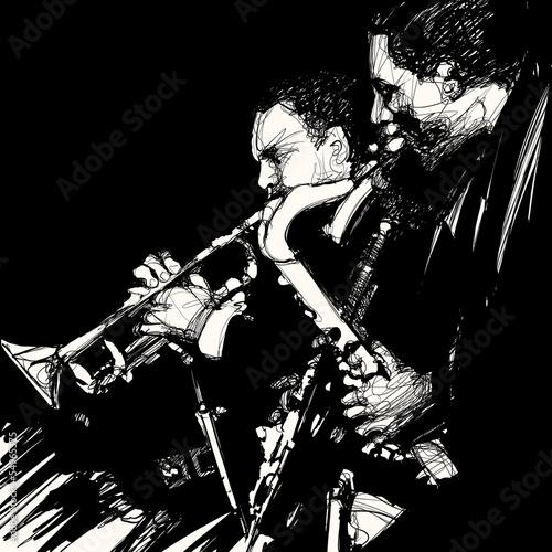 Foto op Plexiglas Muziekband jazz brass musician