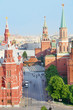 Red Square, Spasskaya Tower and Mausoleum at sunny day in Moscow