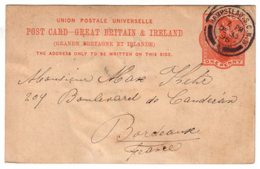 London Hampstead to Bordeaux 19th century English postcard