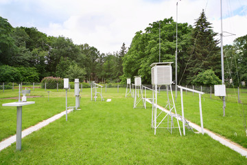 Devices for measuring wind speed, rainfall at weather station