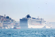 White big passenger liners in harbor at sunny summer day