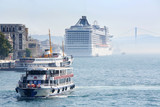 Large passenger liners in harbor at sunny summer day