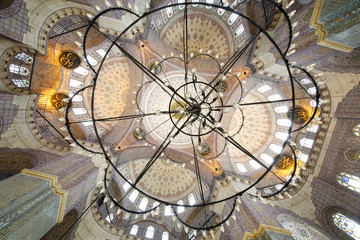 Grand, beautiful dome and chandelier in New Mosque