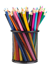 Various color pencils in black cup