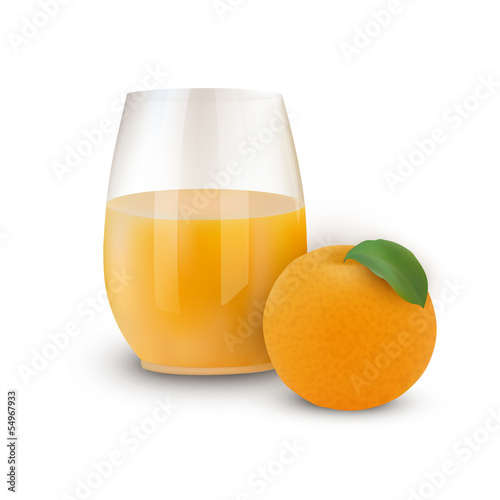 Glass of juice with orange