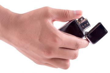 Hand hold holding lighter, on white background