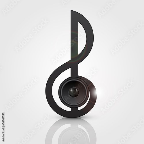 Abstract treble clef with speaker