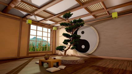 The tree image in a Japanese interior