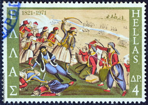 Death of Isaiah, bishop of Salona, in battle (Greece 1971)