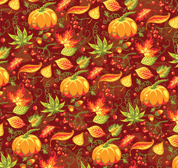 Seamless autumn pattern with pumpkin and leaves.