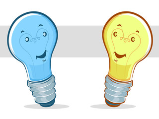 Blue and Yellow Cartoon Light Bulbs