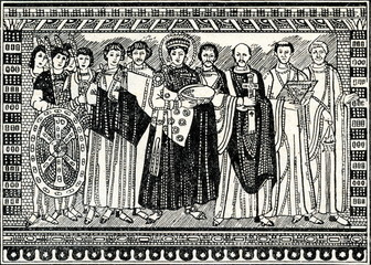 Justinian with archbishop, court  and guards (Ravenna, Italy)