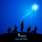 Lord Krishna doing Rash Leela in Janmasthami poster