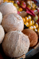 Coconuts And Other Fruit On Display At Farmers Market