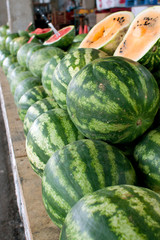 Stacked Watermelons On Display At Farmers Market